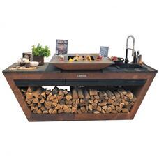 Кухня с колёсиками Quadro Premium Коричневая (с системой водоснабжения) QN29151 bbq24