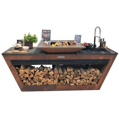Кухня с колёсиками Quadro Premium Коричневая (с системой водоснабжения) QN29151
