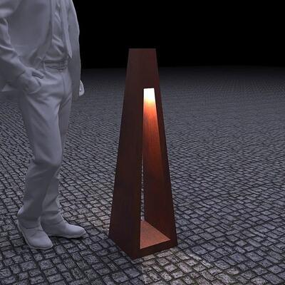 Фонарь с внутренним осветителем Quan Large на солнечной энергии, коричневый QN94459