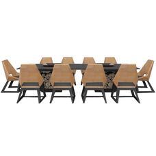 Комплект мебели с грилем-очагом Quan, на 10 персон, черный